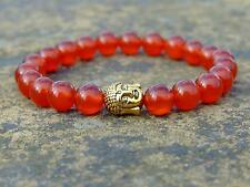 Buddha Carnelian 2 Natural Gemstone Bracelet 7-8'' Elasticated Healing Stone
