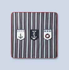 "NWT NEW Jacadi Paris navy white stripe nautical decorative cushion cover 16x16"""