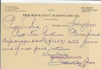 U.S. The Hockaday Hardware Co. 1901 Present to Hopper H/Ware Co Invoice Rf 41317