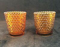 2 Vintage Hobnail Amber Glass Votive Candle Holder