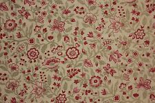 Vintage Fabric French 1920's printed cotton LARGE scale Floral design 1.25 yards