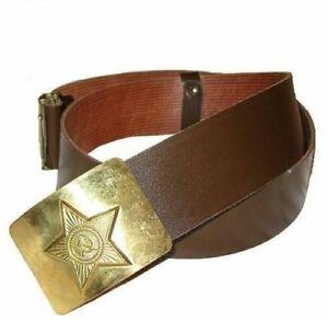 Authentic USSR soldier belt 1980s adjustable leatherette brass buckle original