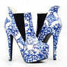 Blue And White Porcelain Platform Stiletto Ankle Boot Bootie Size 4/5/6/7/8/9/10