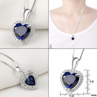Newshe Heart Blue Sapphire 925 Sterling Silver Pendant Chain Necklace For Women