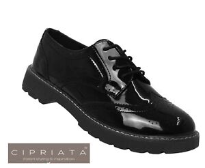 Womens Ladies Black Lace Up Glossy Patent School Formal Office Work Brogues Shoe