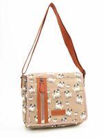 Ladies Shoulder Bag Ladies Crossbody Bag Beige Pug Dog Canvas Messenger Bag
