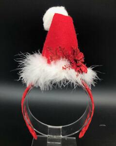 Holiday Mrs.Santa Hat Red Poinsettia Headband Custom Made New