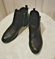 Forever 21 Womens Black Faux Leather Double Zip on Ankle Booties Boots  6.5 MINT