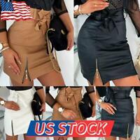 Women's High Waist PU Leather Pencil Tight Skirt Zipper Bodycon Mini Dresses