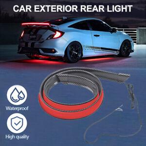 Carbon Fiber Red LED Car Tail Brake Light Lamp Rear Trunk Roof Spoiler Lip Lid