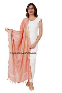 Indian Art Silk Woven Zari Chanderi Long Stole Banarasi Dupatta Shawl Peach