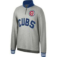 Mitchell & Ness Heather Grey MLB Chicago Cubs Sealed The Victory 1/4 Zip Sweatsh