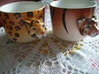 2 Grands Bols en céramique tête de tigre CAFÉ PETIT DÉJEUNER THÉ
