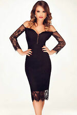 Abito a cono ricamato Scollo trasparente nudo Midi Lace Spliced Bodycon Dress