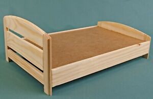 BED dolls house wooden Furniture, Double Bed for 12 inch dolls, Barbie dollhouse