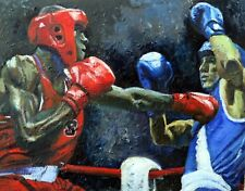 """Original Oil painting """"The Eyes Of A Tiger"""" by Qi Debrah,Sport Figures,30""""x24"""""""