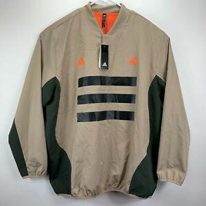 Adidas Mens Woven Piste 3-Stripes Soccer Pullover Jacket Tan 2XL