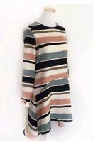 Zara Basic Striped Polyester A-Line Shift Dress Long Sleeve Size S Womens