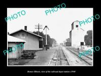OLD LARGE HISTORIC PHOTO OF HOMER ILLINOIS, THE RAILROAD DEPOT STATION c1940