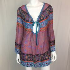 Hale Bob Cabana Women's Small Purple Boho Silk Beaded Cotton Ruffled Tunic Top
