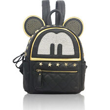 Cute Mouse Ears Black Studded Rock Faux Leather Backpack Rucksack School Bag