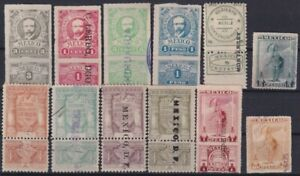 F-EX25487 MEXICO REVENUE FEDERAL TAX STAMP LOT. 1915-16. MADERO + INDIAN 10$