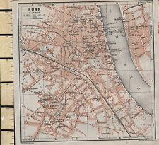1925 GERMAN MAP ~ BONN CITY PLAN ~ RHEIN STATIONS UNIVERSITY GARDENS POPPELSDORF
