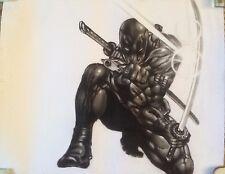 "Deadpool Marvel ART CHARCOAL DRAWING 8X10"""