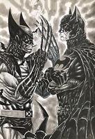 "Wolverine Batman (12""x17"") Original Art Comic By A. Ferreira - Ed Benes Studios"