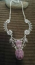 """Purple color praying goddess face necklace 18"""""""