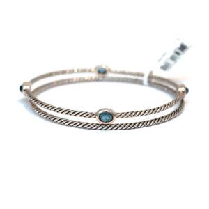 New DAVID YURMAN Confetti Bangle Bracelet Set Blue Topaz & Sterling Silver Med