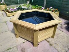 More details for large wooden water feature hexagonal raised garden pond bench top hand crafted