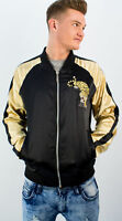Mens Bomber Jacket New Reversible Tiger Embroidery Men Coat Size S M L XL XXL