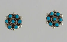 Zuni Native American Sterling Silver Turquoise Cluster Post Earrings
