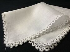#6377🌟Fine & Unusual Antique Bobbin (?) Lace Wedding Handkerchief