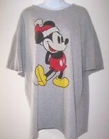 Santa Mickey Mouse Gray Christmas T-shirt Adult 2XL Pre-Shrunk Graphic Tee