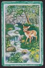 1 Single VINTAGE Swap/Playing Card ANIMALS DEER FAWN STONE BRIDGE STREAM