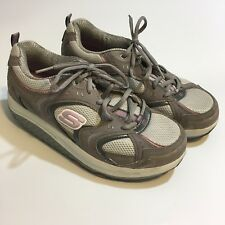 SKETCHERS Shape-ups 11806 Womens 8.5 Walking Toning Shoes White Gray Pink  Y398