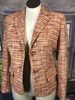 Coldwater Creek Size 10 NWT Bright Boucle Jacket Coral Tweed Texture Msrp$129