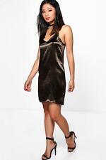 Boohoo Petite Lola Satin Strappy Slip Dress Smoke Grey UK 6 LF085 DD 21
