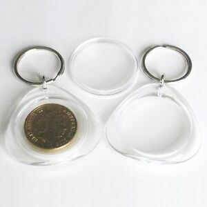 200x Blank Cross Stitch Acrylic Keyrings 33mm Round Insert Size photo coin H1619