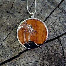 Hawaiian Jewelry Koa Wood Palm Tree Silver Rhodium Plated Brass Pendant BRP1010