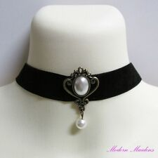 Cameo Pearl Black Velveteen Gothic Collar Necklace 31cm with Single Pearl Drop
