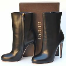 GUCCI New sz 41.5 - 11.5 Designer Black Leather Womens Ankle Heels Boots Shoes