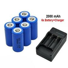 6x 2000mAh 16340 Rechargeable Li-ion Battery For LED Flashlight+CR123A Charger