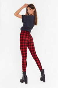 LADIES WOMENS RED TARTAN PRINT STRETCHY LEGGINGS XMAS SIZES UK 8 - 26