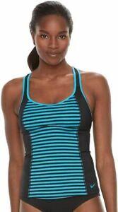 SALE!  NWT Women's Nike Splice Racerback Sport Tankini Top Choose Size Blk Blue