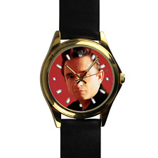 Johnny Cash Watch American Singer Song Writer Legend Leather Watch Gold Case