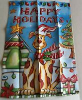 "CHRISTMAS Small Garden Art Flag 12.5"" x 18""  HAPPY HOLIDAYS Flip-It Flag"