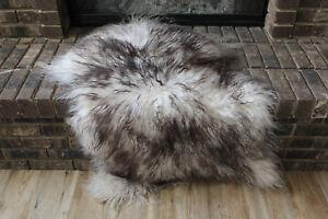 Genuine Icelandic Sheepskin Rug Throw – shade of grey - curly pile